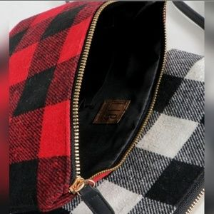 Black and red checkered/ plaid clutch/ pencil bag